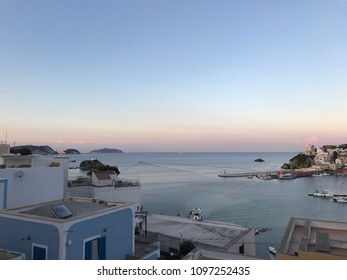 Panoramic view on island. Harbour in Ponza