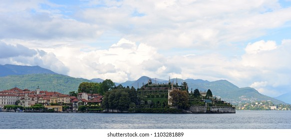 Panoramic view on Isola Bella or Beautiful Island, one of the Borromean Islands  in Lago Maggiore in the Piedmont region in  Italy