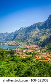 Panoramic view on Kotor bay and old town Kotor, Montenegro.
