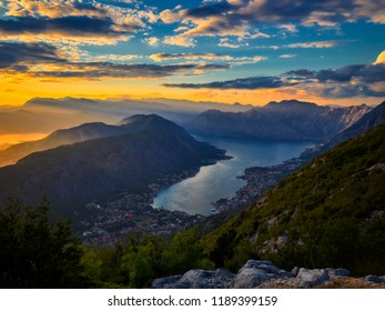 Panoramic view on Kotor bay, Montenegro at sunset