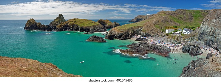Panoramic view on Kynance Cove on the Lizard Peninsula, Cornwall in England, UK