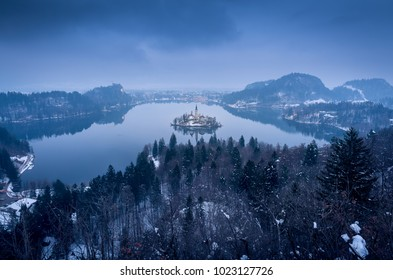 Panoramic view on lake Bled, Slovenia