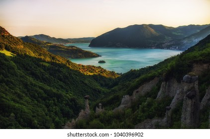 Panoramic view on lake Iseo in Italy