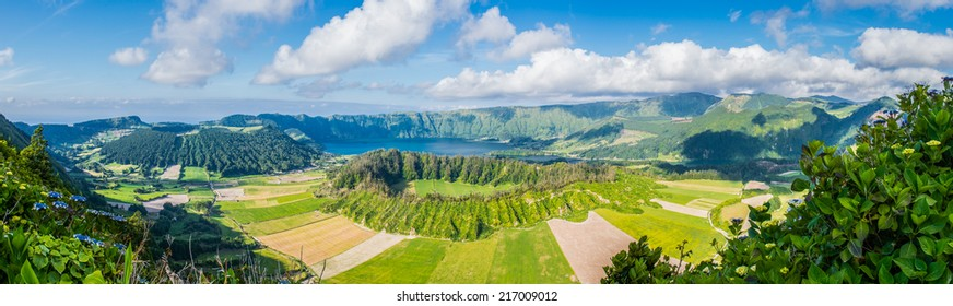 Panoramic view on the lake of Sete Cidades, Azores, Portugal, Europe