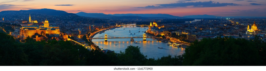 Panoramic view on landmarks of Budapest at sunset, Hungary