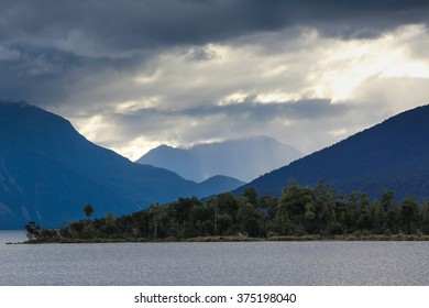 Panoramic view on landscape of New Zealand at sunset, South Island