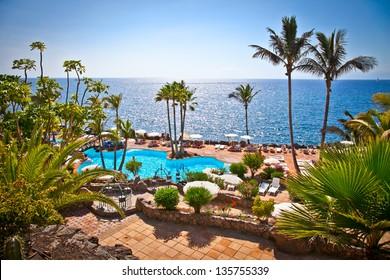 Panoramic view on  Las Cuevitas in Costa Adeje cost,  Tenerife, Spain.