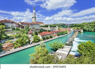 Panoramablick auf die prächtige Altstadt von Bern, Hauptstadt der Schweiz