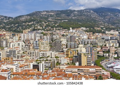 Panoramic view on marina with excellent residential buildings in Monte Carlo, Monaco. Principality of Monaco is a sovereign city state, located on the French Riviera in Western Europe.