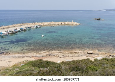 Panoramic view on marina with tied yachts. Cape Drepano, Cyprus.