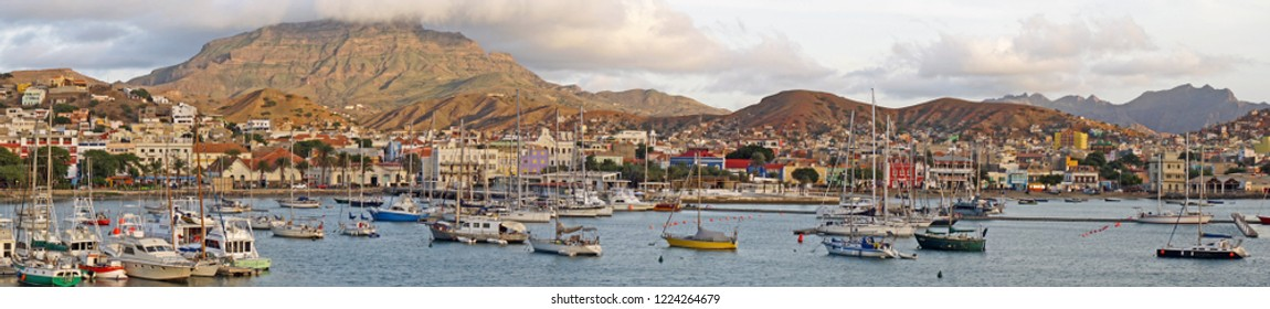 Panoramic view on Mindelo, Cape Verde with Mount Verde in the background