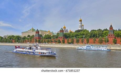 Panoramic view on Moscow Red Square, Kremlin towers, Kremlin Palace, Ivan bell tower church, Moscow river. Excursion river travel cruise boats ships. Famous Moscow Red Square tours vacations