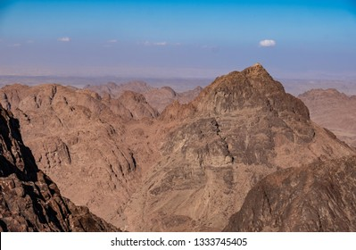 Panoramic view on the Mount Sinai (Mount Horeb or Gabal Musa), a mountain in the Sinai, Egypt. It is a possible location of the biblical Mount Sinai, place where Moses received the Ten Commandments.