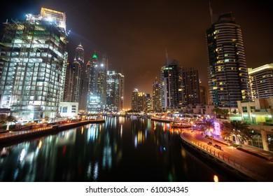 Panoramic view on night highlighted luxury Dubai Marina,Dubai,United Arab Emirates