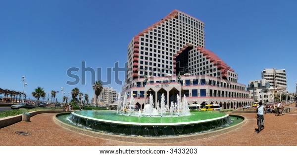 Panoramic view on Opera Building and fountain on plaza in front in Tel Aviv, Israel.