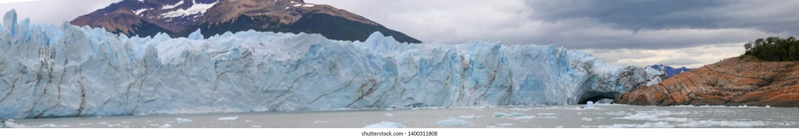 Panoramic view on the Perito Moreno Glacier. Glacier located in the Los Glaciares National Park in Santa Cruz Province, Argentina. Patagonia.
