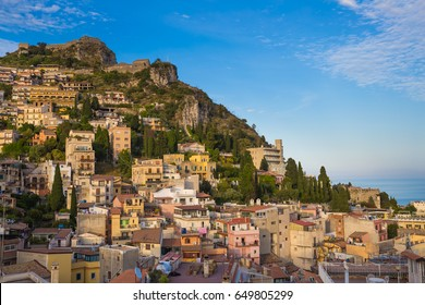 Panoramic view on the  pictoresque town of Taormina, Sicily, Italy