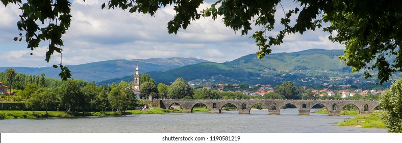 Panoramic view on Ponte de Lima, a town in the Northern Minho region in Portugal.