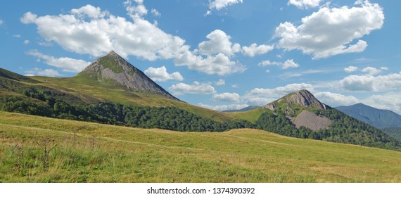 """Panoramic view on the """"Puy Griou"""". Auvergne, Cantal, France"""
