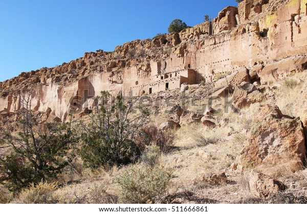 Panoramic view on the Puye Cliff Dwellings of ancestral Indian Pueblo, New Mexico, United States of America, USA