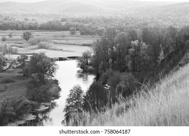 panoramic view on river from the hill