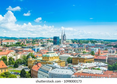 Panoramic view on rooftops in Zagreb center and catholic cathedral, Croatia