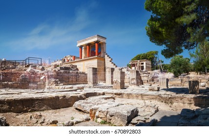 Panoramic view on ruins of ancient Knossos palace of the Minoan civilization and culture at Heraklion, Crete, Greece
