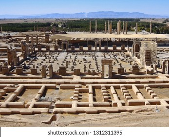Panoramic view on the ruins of Persepolis, ex capitol of Ancient Persia, its palaces, buildings and columns. Museum is located near by Shiraz, Islamic Republic of Iran