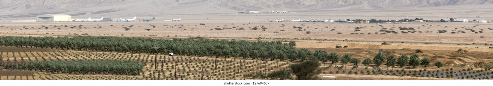 Panoramic view on rural development in the desert valley of Arava (Araba) and international airport of Aqaba near the border of Jordan and Israel