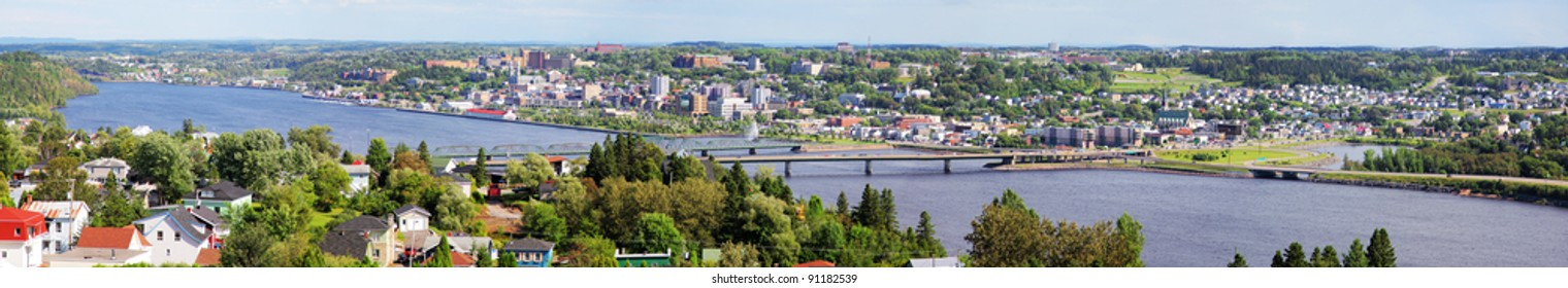 Panoramic view on the Saguenay River and City