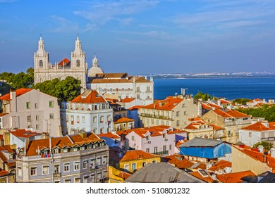 Panoramic view on Saint Vicente de Fora Monastery, Lisbon, Portugal