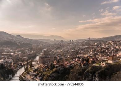 Panoramic view on Sarajevo, Bosnia and Herzegovina