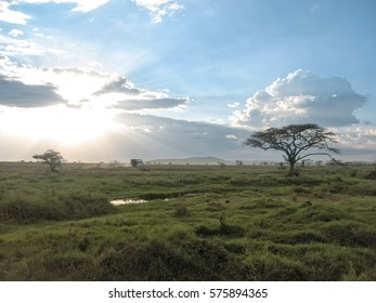 Panoramic view on savanna plain with acacia trees in back lit of bright Sun behind storm cloud at sunset. Serengeti National Park, Tanzania, Africa.