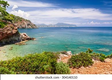 Panoramic view on sea coast near Kemer, Antalya, Turkey