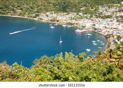 Panoramic view on seashore in Soufriere, Saint Lucia, Caribbean