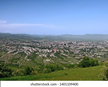 Panoramic view on Shusha, town in de facto Nagorno-Karabakh Republic. It's de jure part of Azerbaijan. There are many ancient monuments of Armenian & Azerbaijan architecture in the town