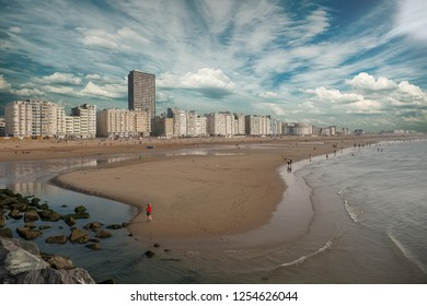 Panoramic view on the skyline of Oostende in Belgium