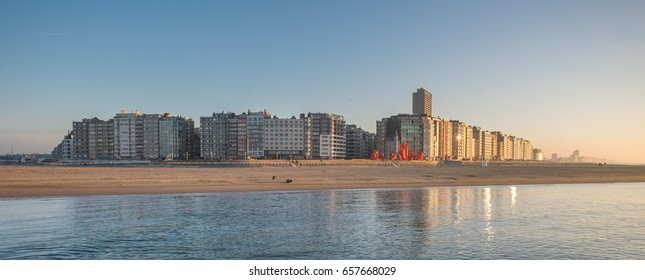 Panoramic view on the skyline of Oostende