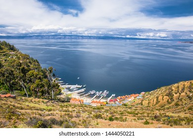 Panoramic view on small village at  Isla del Sol Island on Titicaca lake, Bolivia. South America.