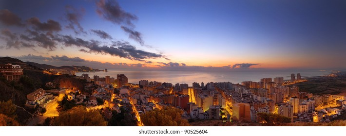 Panoramic view on a spanish city Cullera at sunrise