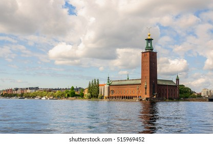 Panoramic view on Stockholm City Hall (Stockholms stadshus) from the bridge to another bank of the river, Stockholm, Sweeden