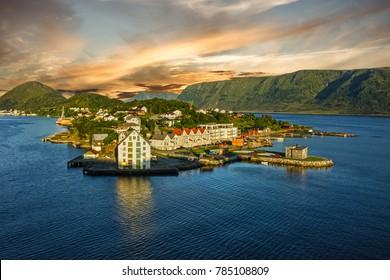 Panoramic view on town Alesund, Norway.