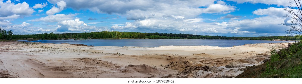 Panoramic view on unnamed lake in Buck'schen Schweiz (Buckschen Swiss)-Moraine landscape (Moraine-type of glacial deposits, the last ice age) in the forests of Oberspreewald-Lausitz district, Germany.