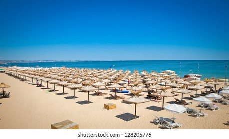 Panoramic view on Varna beach on Black sea in Bulgaria.