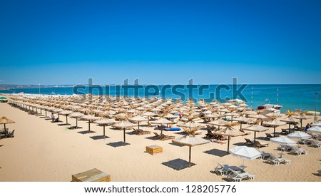 Panoramic view on Varna beach on Black sea in Bulgaria.