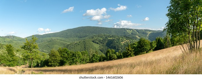 Panoramic view on Velka Raca peak in Kysucke Beskydy mountains close to Oscadnica, Slovakia