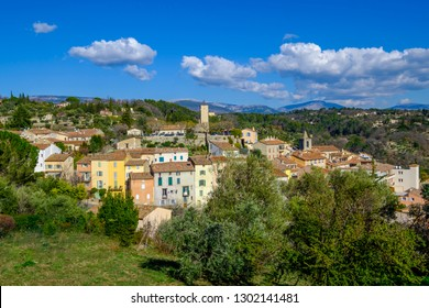 Panoramic view on the village Tourette. South of France.