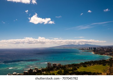Panoramic view on Waikiki beach, Honolulu, Hawaii