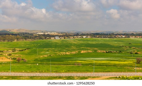 Panoramic view on wide green field in desert Negev near Beer-Sheba at spring