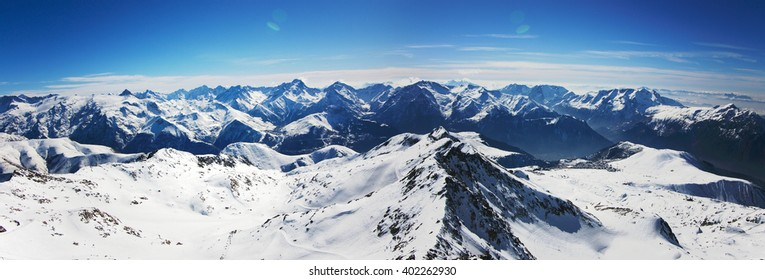 panoramic view on winter Alps